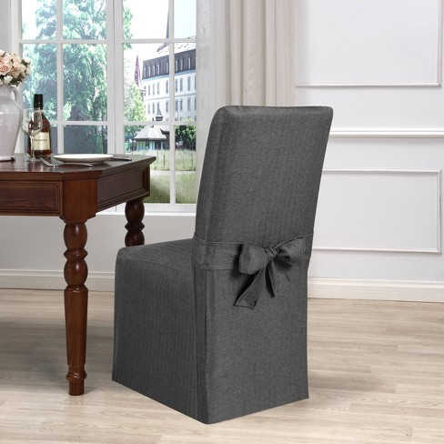 Evening Flannel Dining Room Chair Slipcover Charcoal - Kathy Ireland