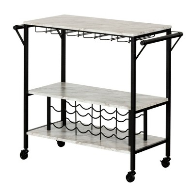 Maliza Bar Cart with Wine Bottle Storage and Wine Glass Rack - South Shore