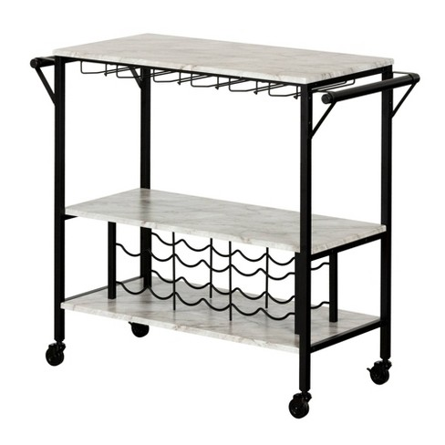 Maliza Bar Cart with Wine Bottle Storage and Wine Glass Rack - South Shore - image 1 of 4
