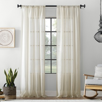 54 x84  Textured Cotton Blend Sheer Curtain Cream - Archaeo