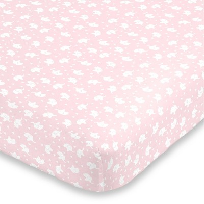 NoJo Super Soft Pink and White Elephant Fitted Crib Sheet