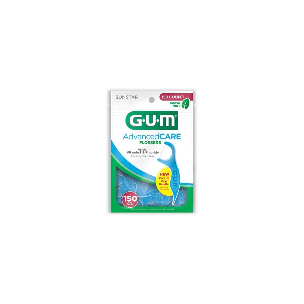 Gum Advanced Care Flossers with Vitamin E, Fluoride and a Fresh Mint Flavor, 150ct