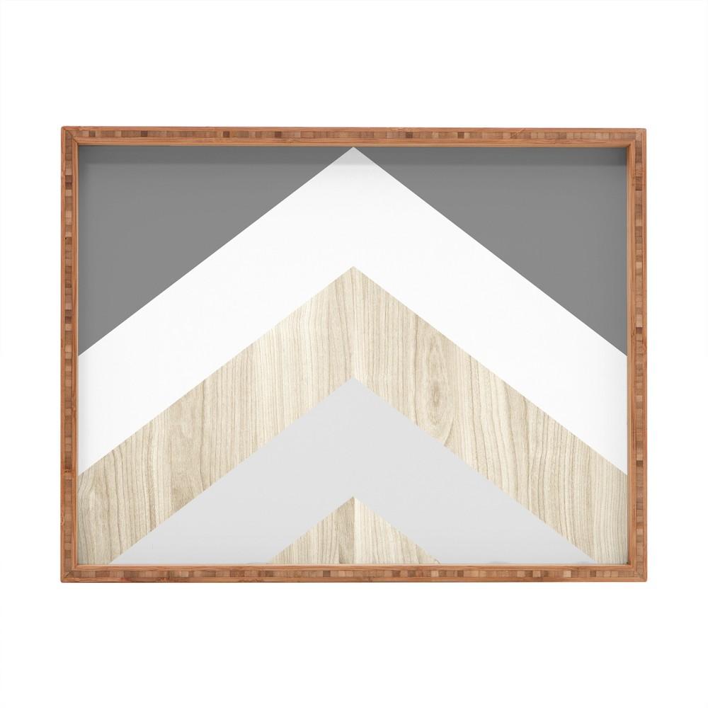 Iveta Abolina Chevron Peak Tray (18) - Deny Designs, Gray