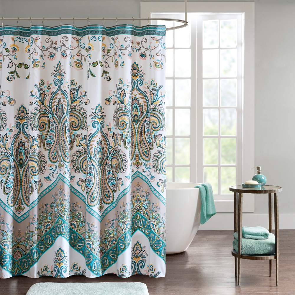 Image of Allura Printed Shower Curtain Teal (Blue)