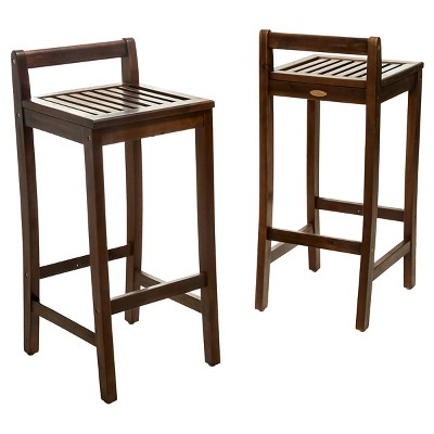 Riviera Set of 2 Acacia Wood Patio Barstool - Brown - Christopher Knight Home
