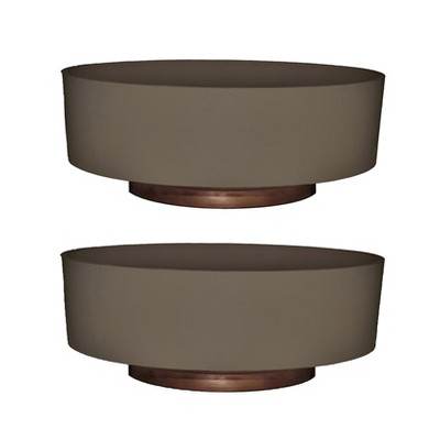 The HC Companies 6 Inch Round Plastic Capri Bowl Decorative Indoor Flower Succulent Planter Pot with Drain Plug Hole, Artisan Taupe (2 Pack)