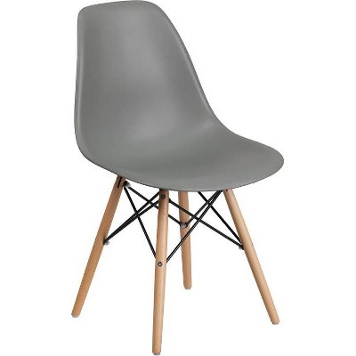 Elon Series Plastic Chair with Wooden Legs Moss Gray - Riverstone Furniture Collection