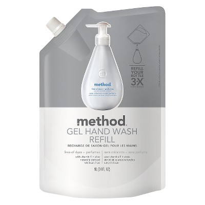 Method Gel Hand Soap Refill Free of Dyes + Perfumes 34oz