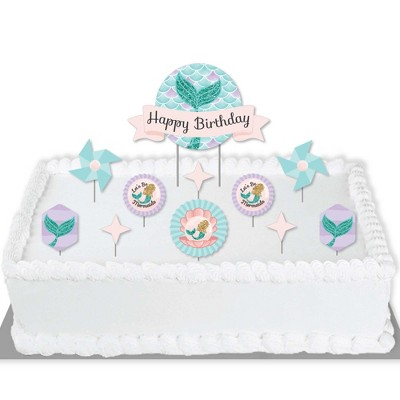 Big Dot of Happiness Let's Be Mermaids - Birthday Party Cake Decorating Kit - Happy Birthday Cake Topper Set - 11 Pieces