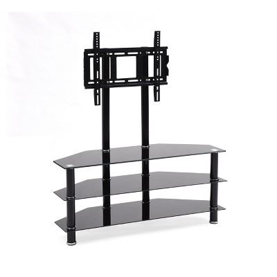 "3 Shelf Glass TV Stand with Mount Black 43"" - Hodedah Import"