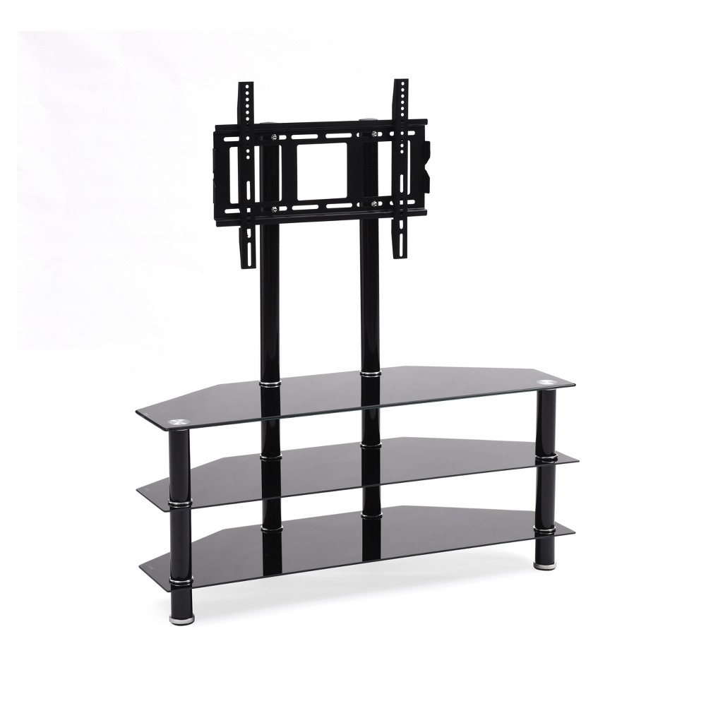 "Image of ""3 Shelf Glass TV Stand with Mount Black 43"""" - Hodedah Import"""