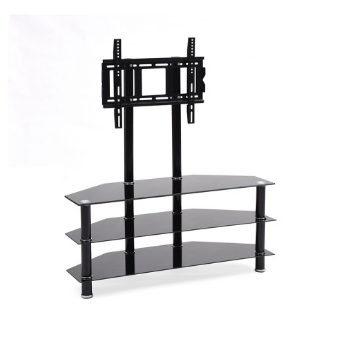 3 Shelf Gl Tv Stand With Mount Black 43 Hodedah Import