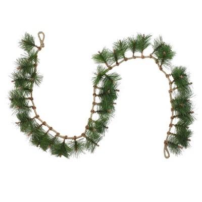 "Napco 6' x 5"" Unlit Long Needle Pine and Rope Christmas Garland"