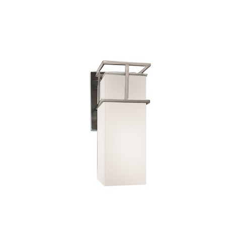 Justice Design Group Fusion 1-Light Wall Sconce Brushed Nickel Finish with Opal Artisan Glass Shade