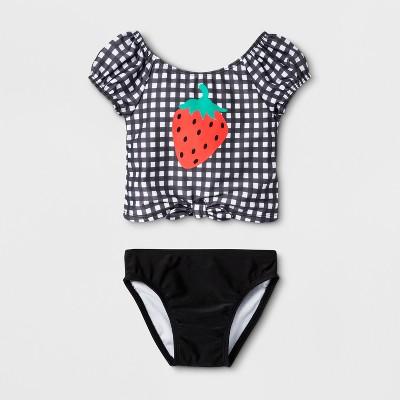 Toddler Girls' 2pc Rash Guard Set - Cat & Jack™ Black 2T
