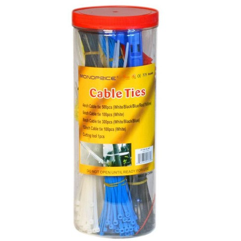 Monoprice Cable Tie Set, 1000pcs/Pack - Various Lengths/Colors w/ Cutting Tool - image 1 of 4