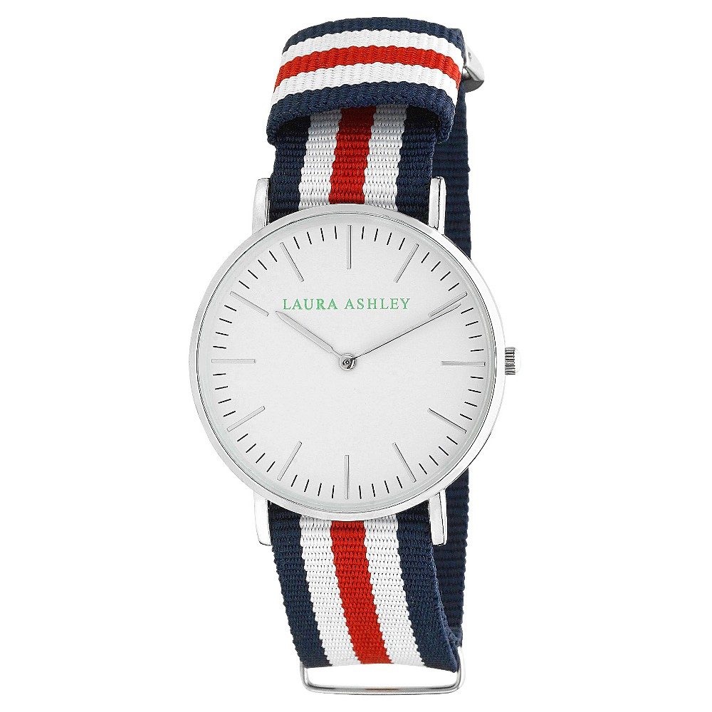 Women's Laura Ashley Ultra-Thin Case Watch with Knitted Band - Blue/White/Red/Silver