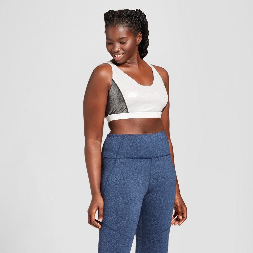 Women's Plus Size Shine Pieced Sports Bra - JoyLab Silver 3X
