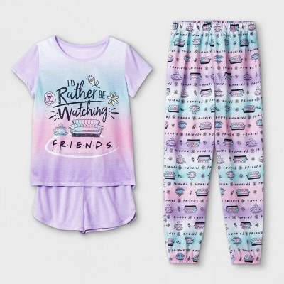 Girls' Friends 'I'd Rather Be Watching Friends' 3pc Pajama Set - Purple