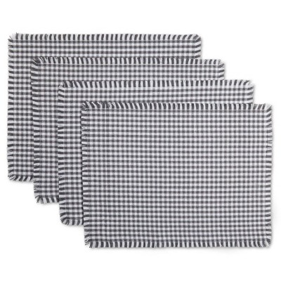4pk Cotton Gingham Fringe Placemats Gray - Town & Country Living