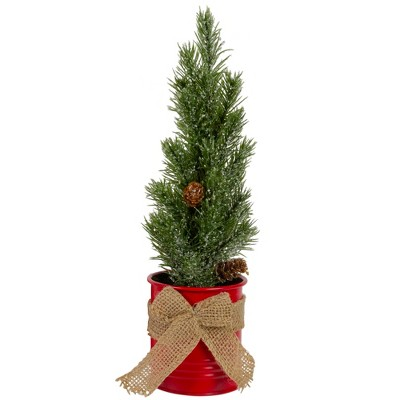 """Northlight 11.75"""" Frosted Upswept Mini Pine Christmas Tree in Red Tin Pot - Unlit"""