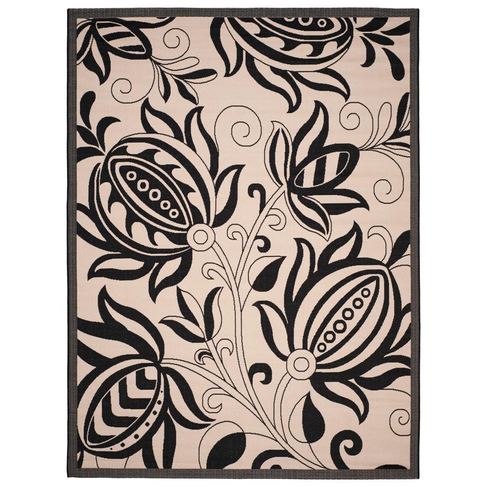 8' x 11' Gori Outdoor Rug Sand/Black - Safavieh, Brown