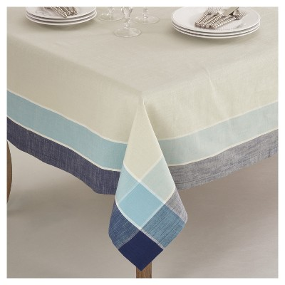 "Blue Plaid Border Design Tablecloth (72"") - Saro Lifestyle"