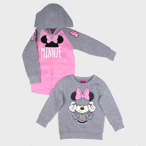 43e2ec449 Toddler Girls' 2pk Disney Mickey Mouse & Friends Minnie Mouse Sweatshirt  Set - Gray