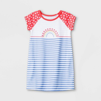 Toddler Girls' Rainbow Nightgown - Cat & Jack™ White
