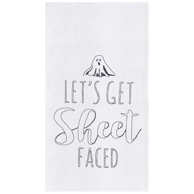 C&F Home Lets Get Sheet Faced Flour Sack Embroidered Cotton Kitchen Towel