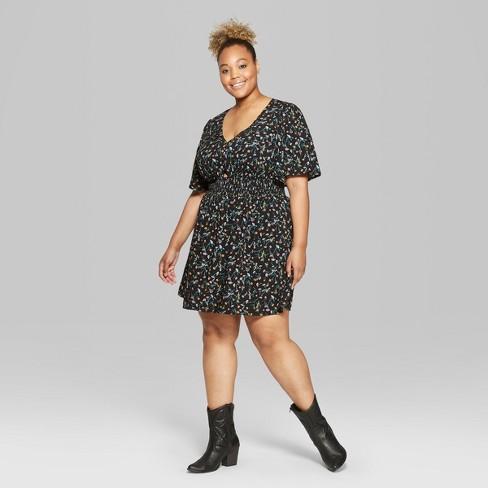 c37b4c1264e4b Women s Plus Size Floral Print Short Sleeve Smocked Waist Dress - Wild Fable™  Black 4X   Target