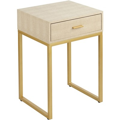 """55 Downing Street Les Revoires 16"""" Wide Cream and Gold 1-Drawer Accent Table"""