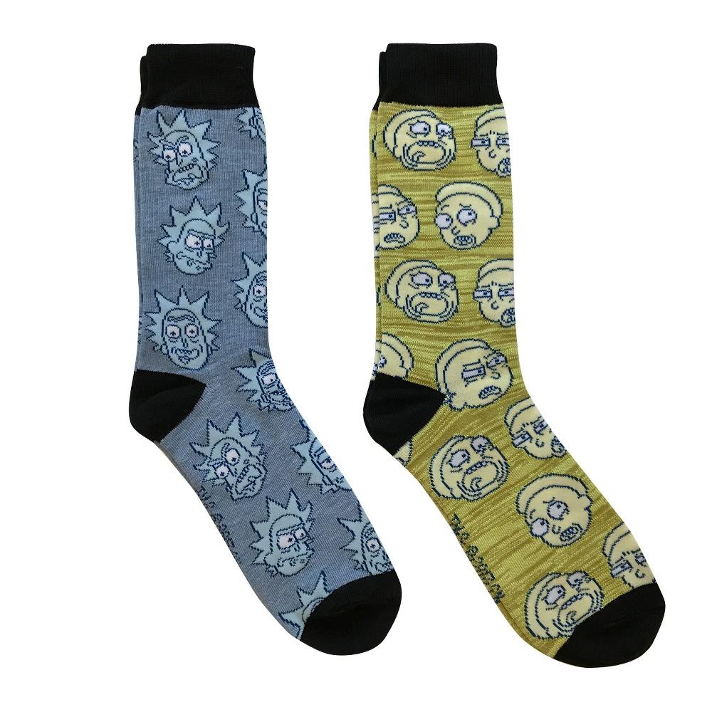 Rick and Morty 2pk Crew Sock - Blue Rick