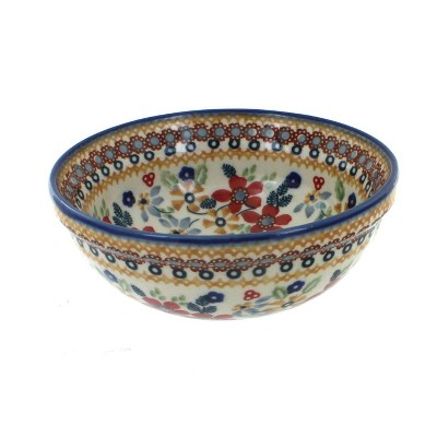 Blue Rose Polish Pottery Red Daisy Dessert Bowl