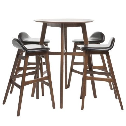 "42"" 5pc Moria Bar Height Dining Set Natural Walnut/Dark Brown Leather - Christopher Knight Home - image 1 of 4"