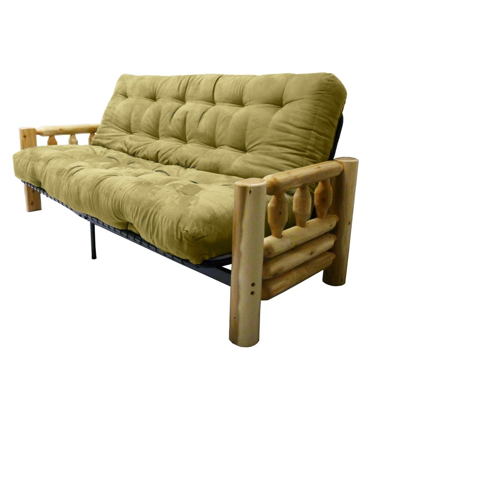 Lodge 8 Cotton/Foam Futon Sofa Sleeper - Epic Furnishings, Suede Celery Green