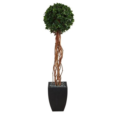 """64"""" Indoor/Outdoor English Ivy Single Ball Artificial Topiary Tree in Planter Black/Green - Nearly Natural"""