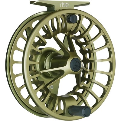 Redington Rise Mighty Powerful Solid Ambidextrous Angler 5/6 Fly Fishing Reel with Protective Nylon Carry Case, Olive