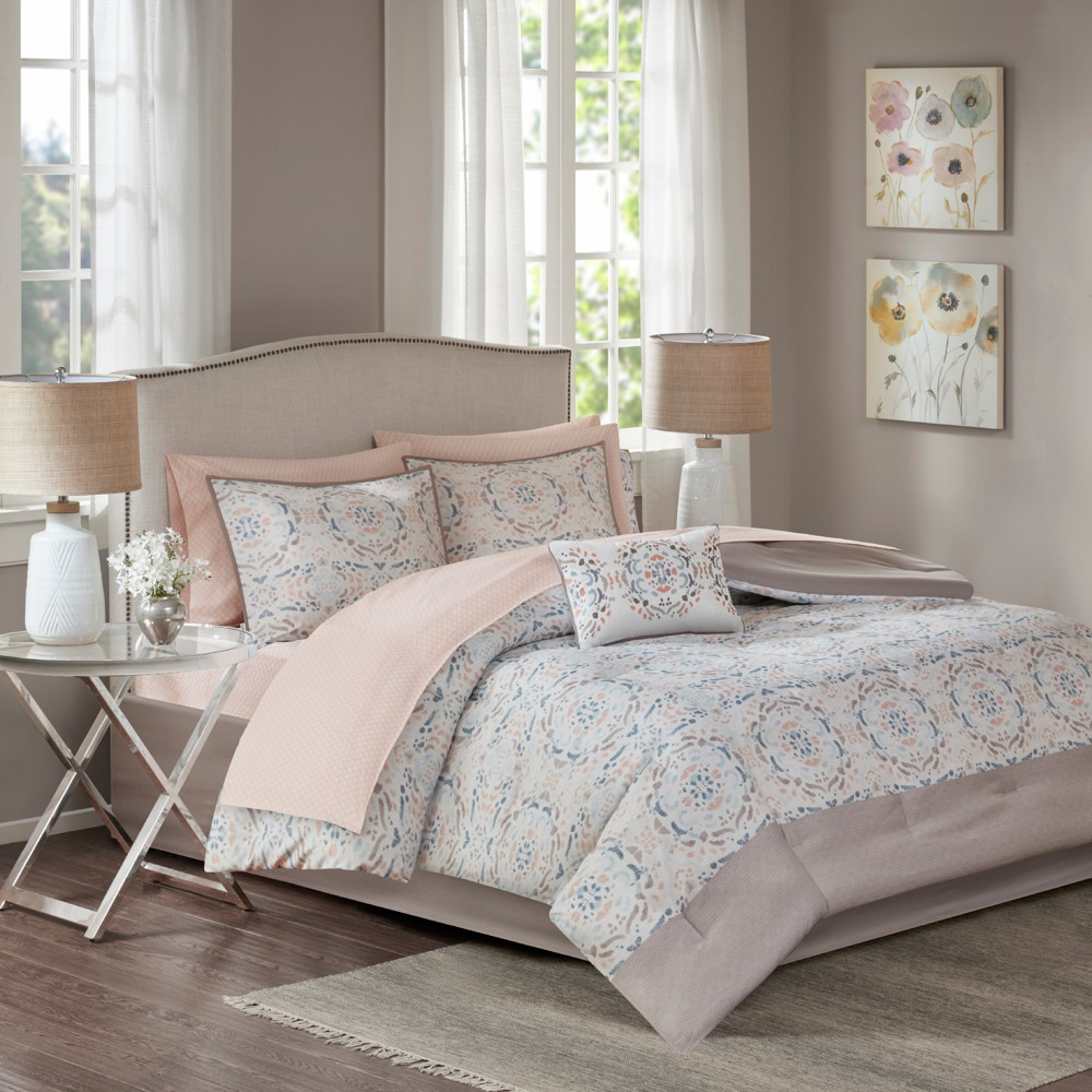 Blush Sandy Complete Comforter and Cotton Sheet Set (Twin) 7pc, Pink