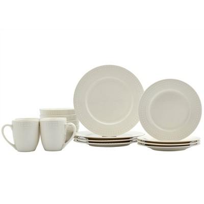 16pc Porcelain Embossed Bloom Dinnerware Set - Tabletops Gallery