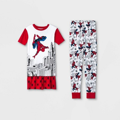 Boys' Marvel Spider-Man 3pc Pajama Set - Red/White