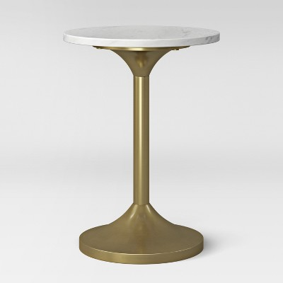 Toulon Marble Top Pedestal Accent Table White/Brass Ships Flat - Project 62™
