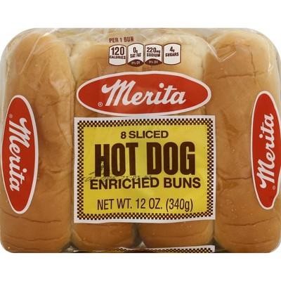 Merita White Hot Dog Buns 8ct 12oz