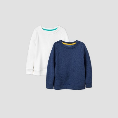 Toddler Girls' 2pk Fleece Sweatshirt - Cat & Jack™ Navy/Cream