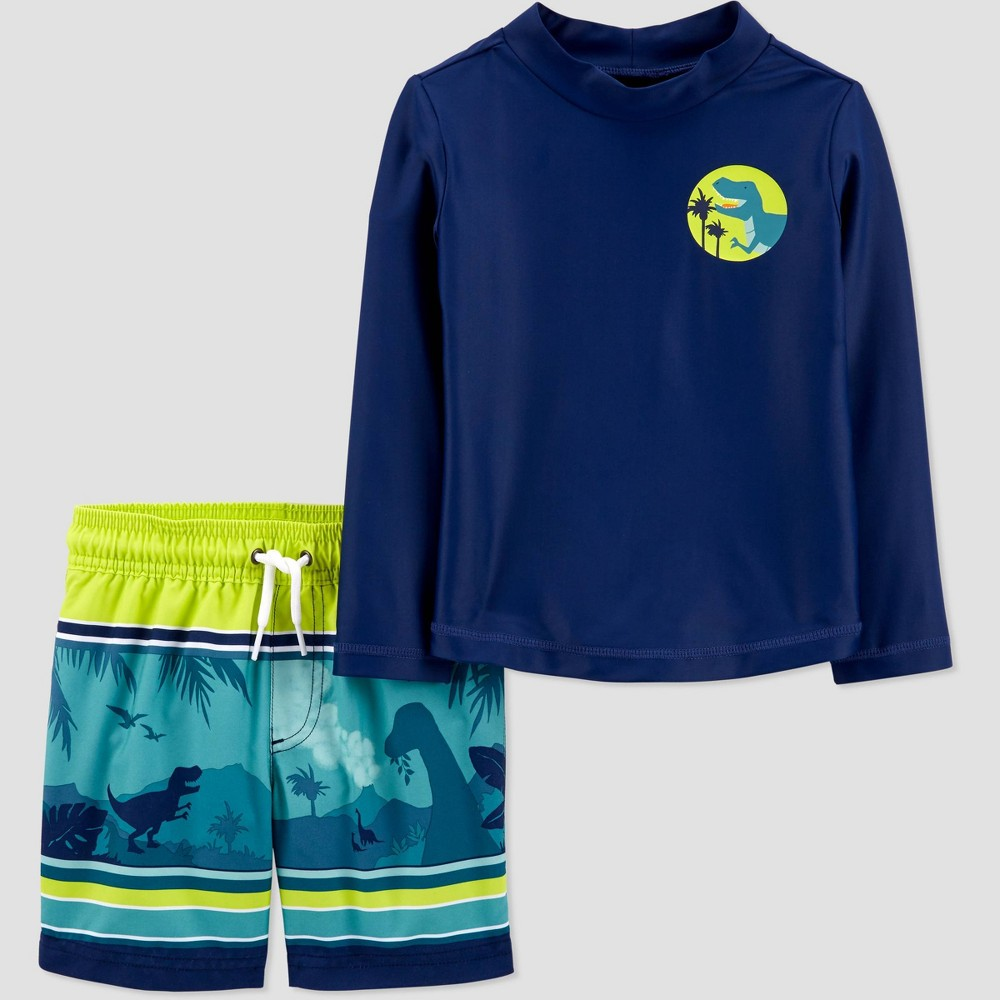 Toddler Boys 39 2pc Dino Long Sleeve Rash Guard Set Just One You 174 Made By Carter 39 S Navy 3t