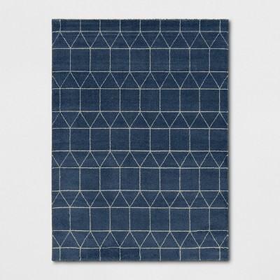 """9'2""""X12' Elle Linear Grid Woven Area Rug Navy - Project 62™"""