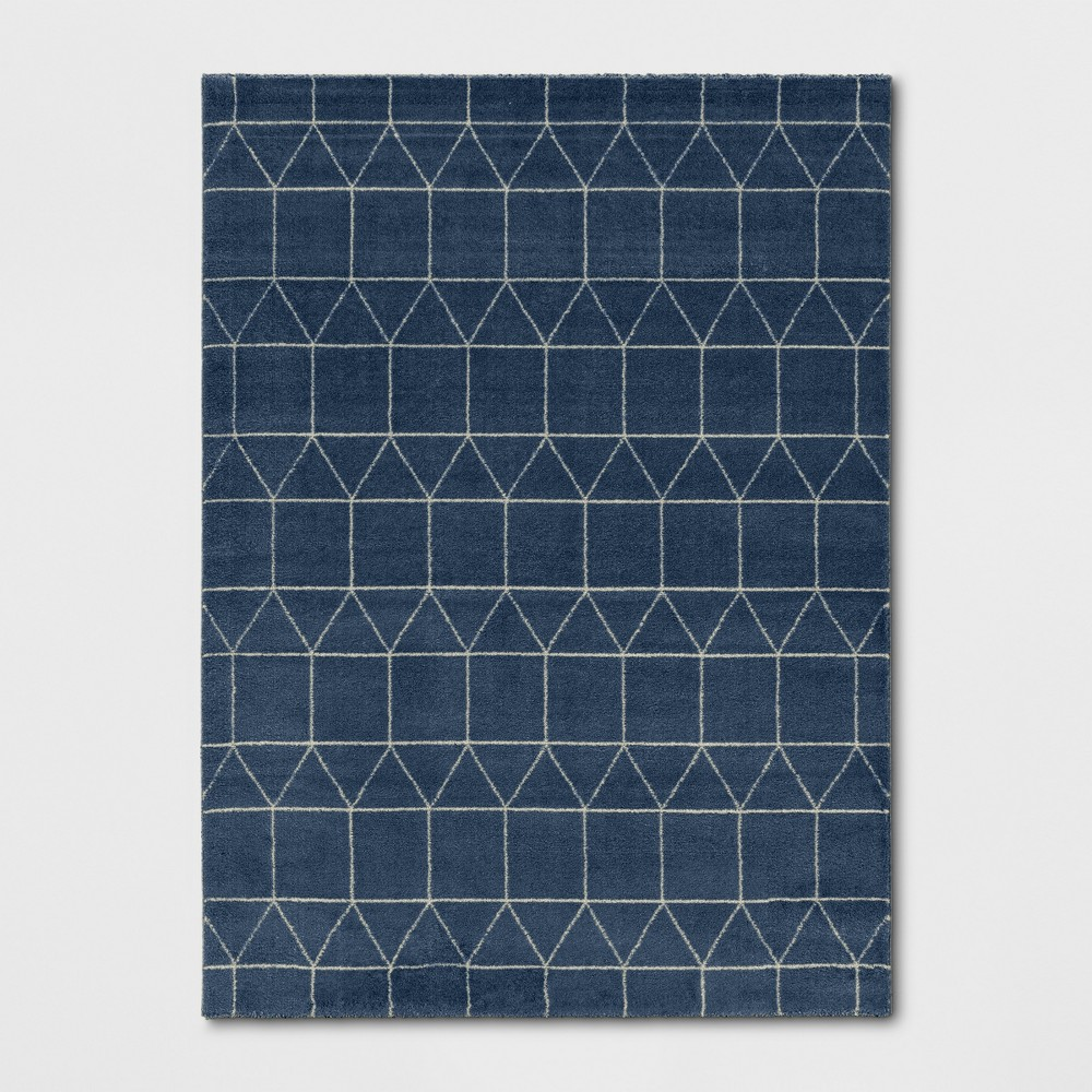"""Image of """"9'2""""""""X12' Elle Linear Grid Woven Area Rug Navy - Project 62"""""""