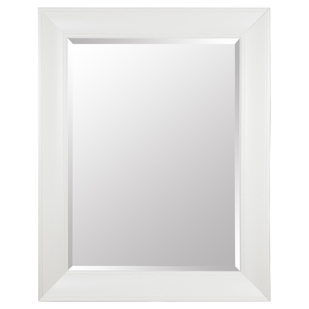 Image of Rectangle Beveled Decorative Wall Mirror with Wide Profile White - Gallery Solutions