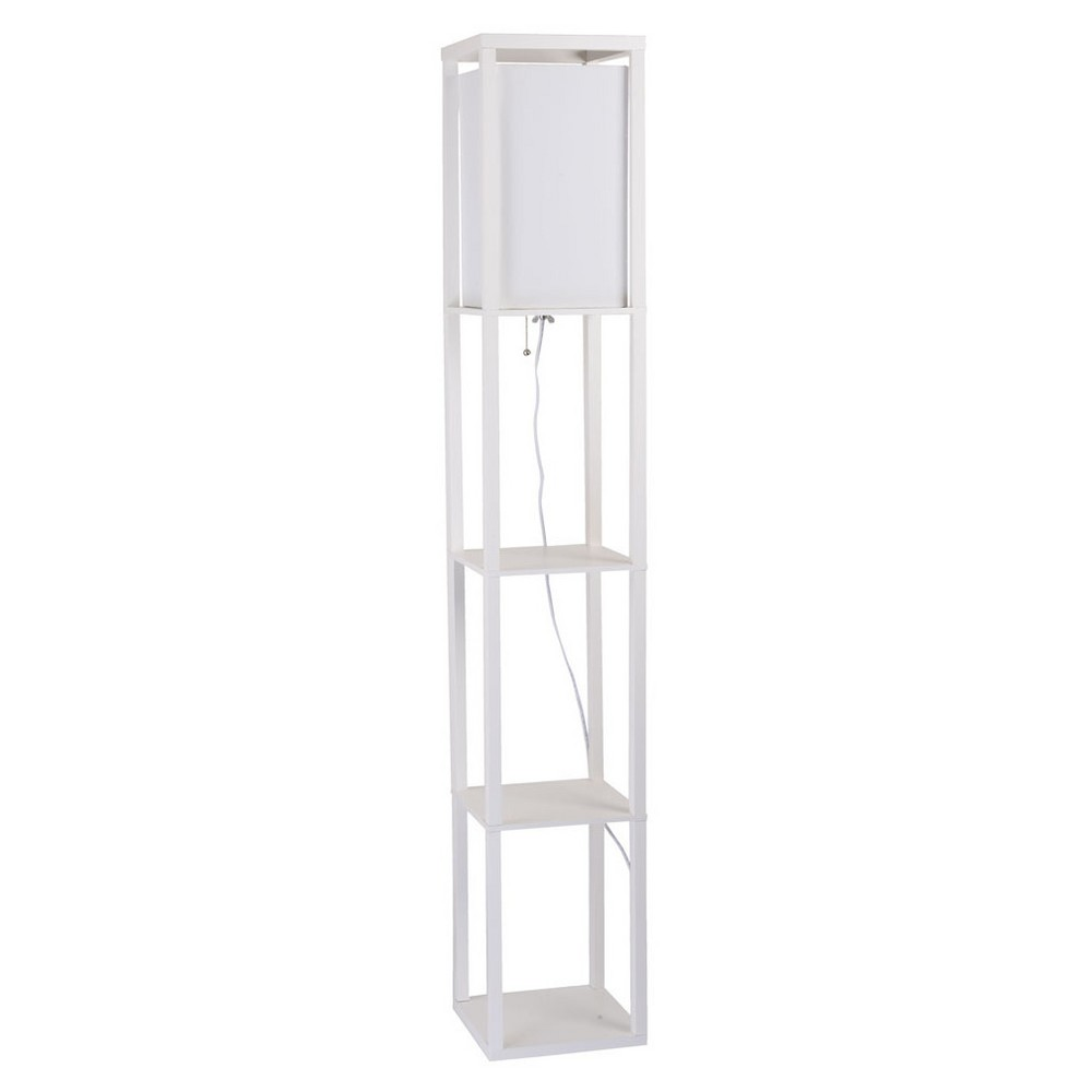 Image of Square Finely Faux Wood Etagere Floor Lamp White - Cresswell Lighting