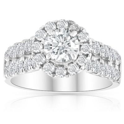 Pompeii3 2 1/2 Ct Halo Round Diamond Double Row Engagement Ring 10k White Gold